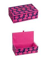 LRG Lilly Pulitzer TUSK IN SUN Elephant Navy Pink Glass Storage Box NIB $68