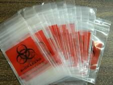 HALLOWEEN PROP -100 3x5 Bio Hazard Zip Lock Bags for candy, party favor or props