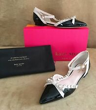 8 N Kate Spade Becca crystal patent leather Narrow black pink shoes flat 92215