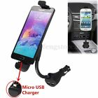 Car Cigarette Lighter Dual Micro USB Port Charger Mount Holder For Mobile Phones