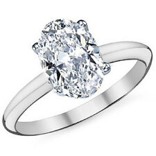 1.00 CTW 14k White Gold Oval Cut Moissanite 4 Prong Solitaire Engagement Ring