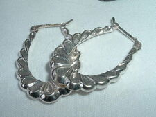 Vintage Sterling Silver Gypsy Hoop Pierced Earrings from Mexico in Gift Box