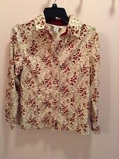 Ivory with Red flowers North Style cordoroy button up women's size XS