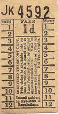 Bell Punch Ticket - Sheffield Transport Department - 1d.