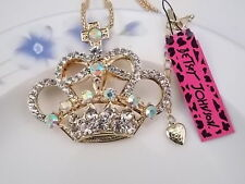 Betsey Johnson fashion jewelry Crystal Crown pendant necklace # F077B
