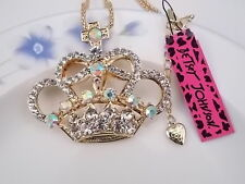 Betsey Johnson fashion jewelry Crystal Crown pendant necklace # A077N