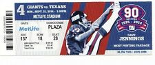 2014 NEW YORK GIANTS VS HOUSTON TEXANS TICKET STUB 9/21 DAVE JENNINGS
