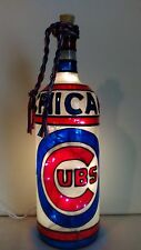 Chicago Cubs Inspired Bottle Lamp Handpainted Lighted Stained Glass Look