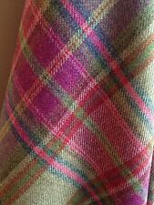 TRADITIONAL WOOL TARTAN TWEED FABRIC WOVEN IN SCOTLAND -70CM X 50CM- Pink/green
