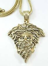 "HOT NEW Gold Placed FINISH MASK MEDUSA HEAD MEDALLION PENDANT CHARM 36""CHAIN"
