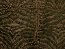 Drapery Upholstery Fabric Chenille Animal Print - Tiger in Hunter & Lt. Avacado