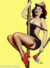 1940s Pin-Up Girl Fire Belle #2 Fireman Pole Picture Poster Print Art Pin Up