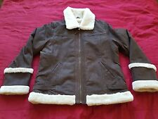 BON'A PARTE WOMENS FLYING AIR FORCE BROWN LEATHER JACKET FAUX FUR LINING SIZE 18