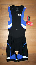 New TYR Mens COMPETITOR Front Zip TRISUIT SHORTJOHN - Black Blue - USA MADE - XS