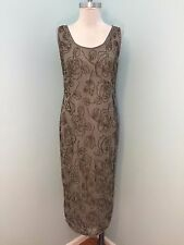 Anthropologie Minuet Beaded Embellish Taupe Gray Midi Dress Party Modcloth S 4 6