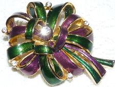 JOAN RIVERS Gold Tone Purple & Green Enamel Bow Ribbon Brooch/Pin  Z100