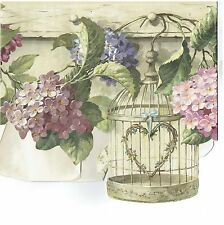 BIRD CAGES HANGING ALONG WALL WITH FLOWERS LEAVES Wallpaper Wall bordeR Decor