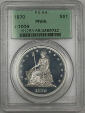 1870 Proof Silver $1 Dollar Pattern Coin J-1006 PCGS PR-65 OGH Seated Liberty WW