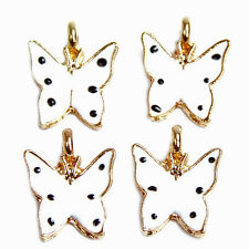 20x New Gold Plated White Enamel Butterfly Insect Alloy Pendant Charms Finding D