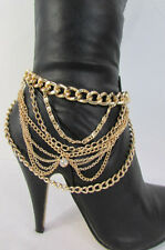 New Gold Chain Boot Faux Leather Strap Big Cross Rhinestones Western Shoes Rock