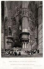 MILANO: Interno del Duomo.Lombardo-Veneto.ACCIAIO.Stampa Antica.Certificato.1831