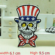 USA Flag Skull Embroidered Iron/Sew on Patches/Badge Applique Motif DIY Badges