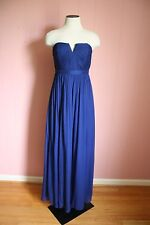 JCrew Nadia Long Dress Silk Chiffon 00 Dark Cove Blue Wedding Formal Gown NWT