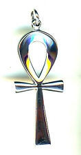 "925 Sterling Silver Solid Large Plain Ankh Pendant 51mm x 20mm (2"" x 3/4"") Cross"