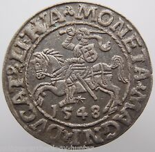 Lithuania Hammered Silver Coin 1548 AD from Treasure Baltic Sea Very Rare!