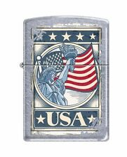 Zippo 207 Statue of Liberty on American Flag USA *Weathered Finish* Lighter