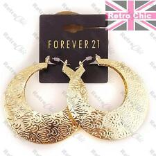 "RETRO 2"" GOLD FASHION HOOPS ornate BIG CREOLE EARRINGS pattern bamboo HOOP"