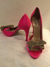 Valentino Jeweled Bow Couture Pink Satin Platform Peeptoe Dorsay Pump 40 $1095