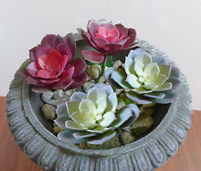Artificial Small Snow Lotus Succulents Grass Red + Gray(Set of 4)