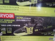Ryobi 14 In 40 Volt Brushless Cordless Battery Chainsaw RY40502 Tool only D027