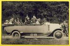 """cpa Carte Photo AUTOMOBILE VOITURE """" Les CARS FRANCO BELGES """" LOURDES Pélerins"""