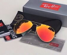 Authentic RAY-BAN AVIATOR SUNGLASSES Orange Flash/Gold Frame RB3025 58mm 112/69