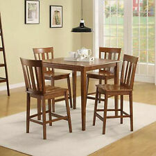 Dining Room Set 5 Piece Wood Table And 4 Chairs Counter Height Kitchen Cherry