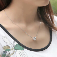 Fashion Lady Charm 925 Sterling Silver Heart Hollow Ball Pendant Chain Necklace