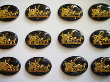 Set of 12 Glass Coach and Horses Scene Cameo Buttons Old but Unused