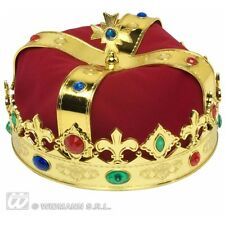 Jewelled Royal Crowns Hat for Regal King Queen Fancy Dress Accessory