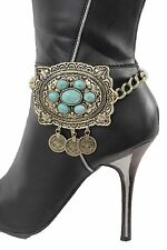 Women Vintage Gold Chains Boot Bracelet Heel Shoe Big Charm Bling Ethnic Jewelry