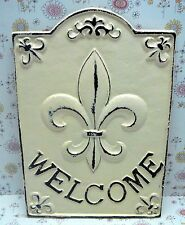 Fleur de lis Cast Iron Welcome Door Sign FDL Paris French Shabby Chic Off White