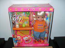 "NEW! CUDDLY SOFT KELLY SISTER OF BARBIE HIGH CHAIR DESK 2001 18"" BABY DOLL FREE"