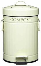 Kitchen Craft 3 Litre Kitchen Compost Bin, Food Waste Caddy, Cream, Steel