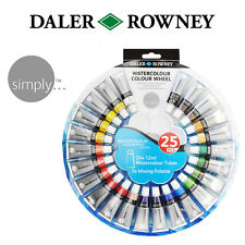 Daler Rowney Simply Watercolour Colour Wheel Set 24 x12ml Tubes & Mixing Palette