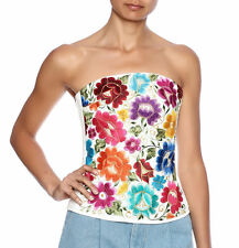 Nativa Mexican hand embroidered vibrant boho floral corset bustier top M 8 10