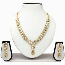 Indian Bollywood Fashion Ethnic GoldPlated Diamond Necklace Earrings Jewelry Set