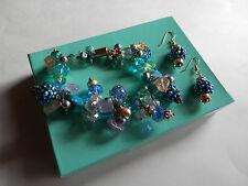 """Handcrafted Lampwork Crystal Bead Bracelet/Earrings 7 1/2""""MAGNETIC FASTENER"""