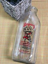 Broguiere's Dairy Montebello Ca Red Paint ONE QUART Milk Bottle ~ CLEAR GRAPHICS