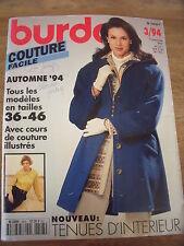 BURDA COUTURE FACILE  COURS ILLUSTRES CONFORT/SPORT/ELEGANCE/   03 /1994